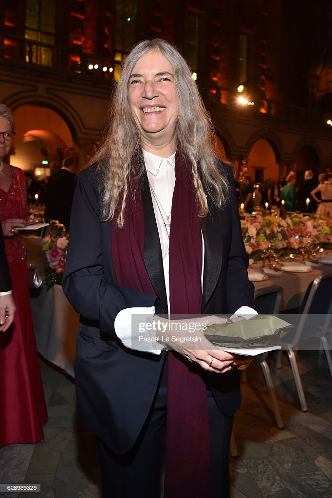 Patti Smith attend the Nobel Prize Banquet 2015 at City Hall on December 10, 2016 in Stockholm, Sweden.