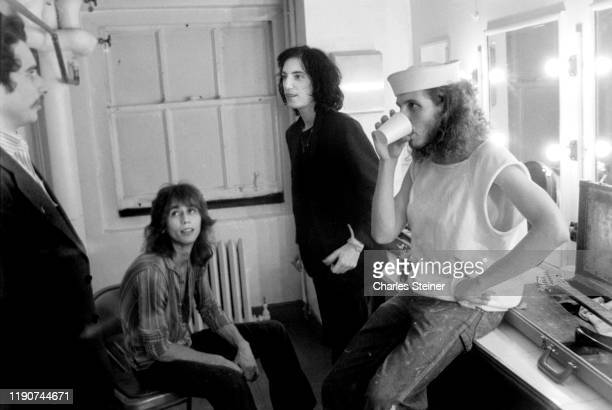 "Patti Smith backstage with band members before performing at the event Arista Records Salutes New York with a Festival of Great Music"" at City Center..."