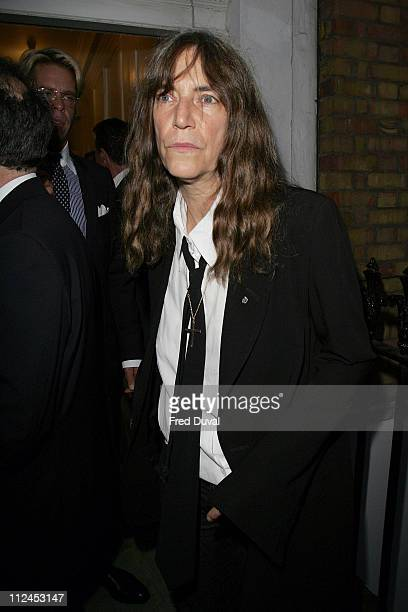 Patti Smith during Robert Mapplethorpe Exhibition Private View Outside Arrivals at Alison Jacques Gallery in London Great Britain