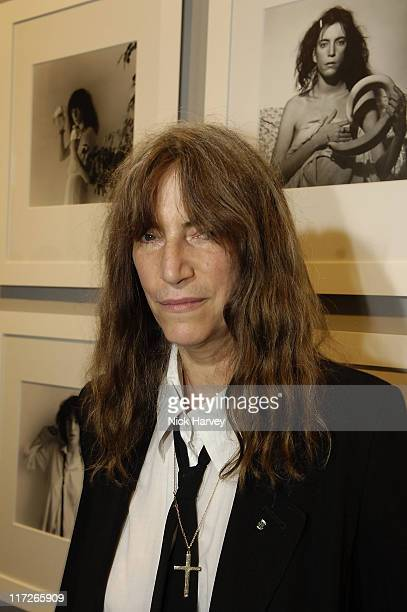 Patti Smith during Robert Mapplethorpe Exhibition Private View at Alison Jacques Gallery in London United Kingdom