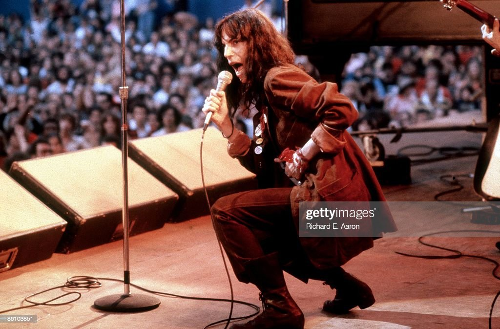 Patti Smith performing live on stage with The Patti Smith Group in Central Park as part of The Dr Pepper Music Festival on August 4, 1978 in New York, New York.
