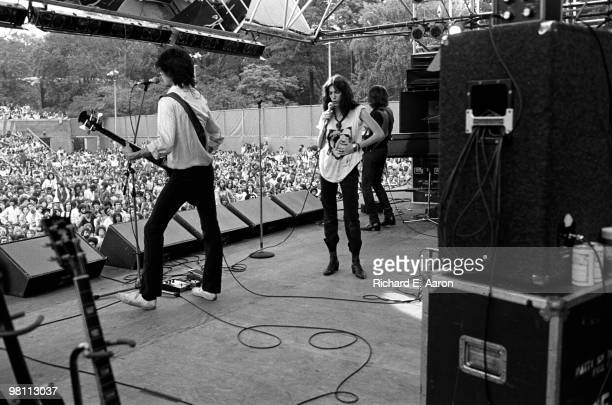 Patti Smith performing on stage with The Patti Smith Group in Central Park as part of The Dr Pepper Music Festival on August 04 1978 LR Lenny Kaye...
