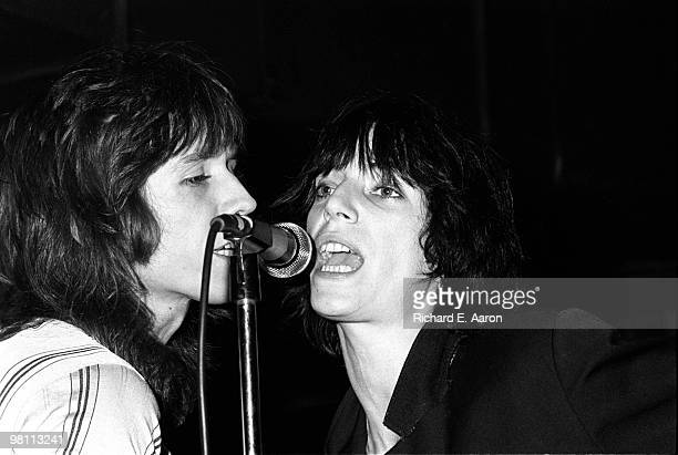 Patti Smith performing with Ivan Kral from the Patti Smith Group at CBGB's club in New York City on April 04 1975