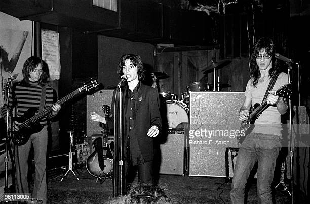 Patti Smith performing with Lenny Kaye and Ivan Kral from the Patti Smith Group at CBGB's club in New York City on April 04 1975