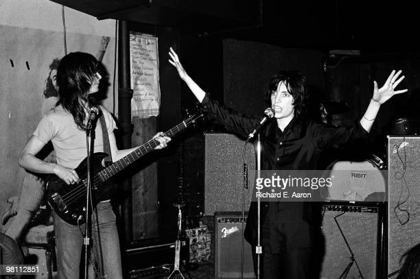 Patti Smith performing with Lenny Kaye from the Patti Smith Group at CBGB's club in New York City on April 04 1975