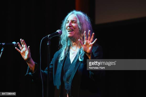 Patti Smith performs at The Anthology Film Archives Benefit and Auction on March 2 2017 in New York City