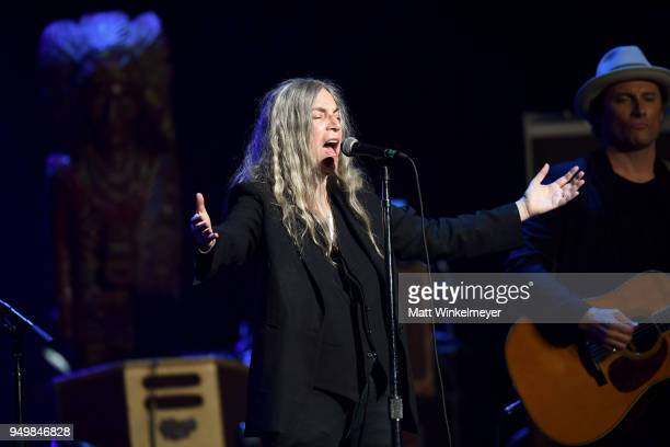 Patti Smith performs during the 5th Annual Light Up The Blues Concert an Evening of Music to Benefit Autism Speaks at Dolby Theatre on April 21 2018...