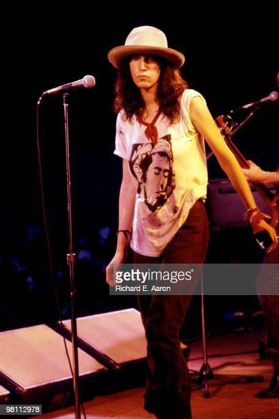 Patti Smith performs live on stage with The Patti Smith Group in Central Park as part of The Dr Pepper Music Festival on August 04 1978