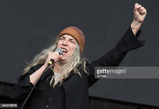 Patti Smith performs on stage at Barclaycard Presents British Summer Time Hyde Park Day 1 at Hyde Park on July 1 2016 in London England