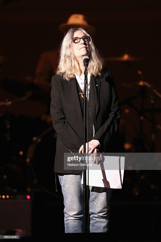 Patti Smith performs on stage at the Tibet House Benefit Concert 2015 at Carnegie Hall on March 5, 2015 in New York City.