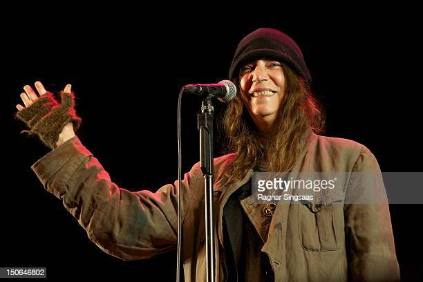 Patti Smith performs on stage during day 1 of the RXR festival at Lassa on August 23, 2012 in Stavanger, Norway.