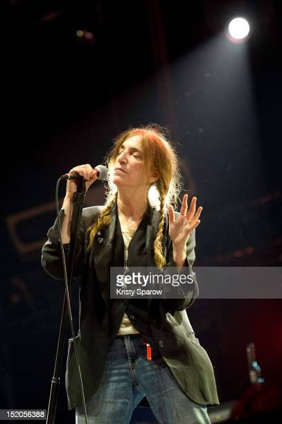 Patti Smith performs on stage during Fete de L'Humanite 2012 at Parc Georges Valbon on September 15 2012 in La Courneuve France
