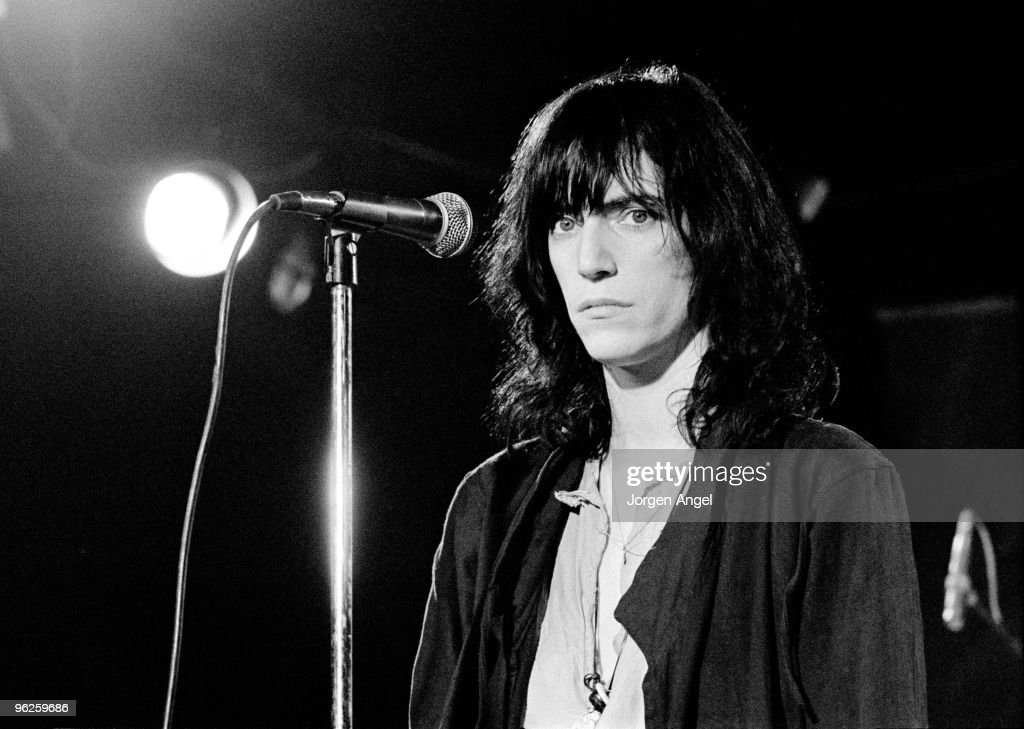 Patti Smith performs on stage in May 1976 in Copenhagen, Denmark.