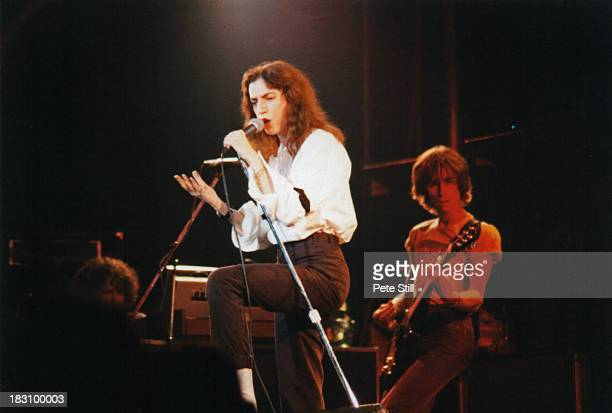 Patti Smith performs on stage with bassist Ivan Kral in the background at Wembley Arena on September 5th 1979 in London England