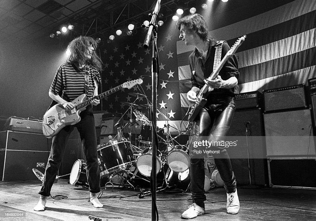 Patti Smith performs on stage with Lenny Kaye at Jaap Eden Hal, Amsterdam, Netherlands, 4th September 1979. She plays a Fender Jazzmaster guitar.