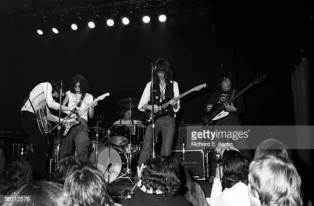 Patti Smith performs with The Patti Smith Group live on stage in Central Park New York on July 09 1976 LR Ian Kral Patti Smith Jay Dee Daugherty...