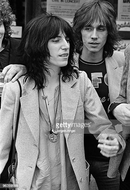 Patti Smith poses for a portrait with Ivan Kral in May 1976 in Copenhagen Denmark
