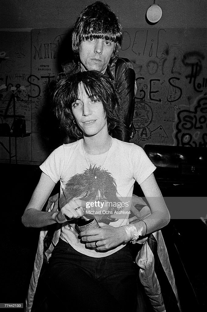 Patti Smith poses with James Williamson of The Stooges in November 1974 backstage at the Whisky a Go Go in Los Angeles California.