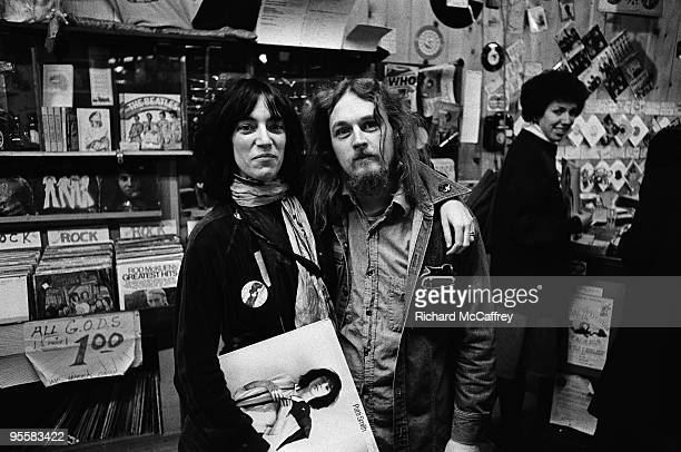 Patti Smith with photographer Richard McCaffrey at Rather Ripped Record Shop in 1975 in San Francisco California