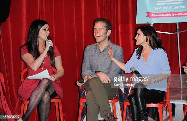 Patti Stanger Perez Hilton and Emily Morse attend the Matchcom Dating Confessions panel hosted by Patti Stanger on February 8 2014 in New York City