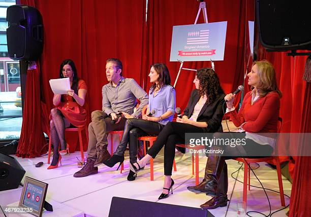 Patti Stanger Perez Hilton Emily Morse Anna Breslow and Dr Helen Fisher host a discussion panel at the Matchcom Dating Confessions panel hosted by...