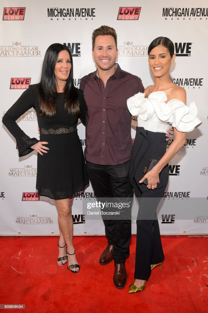 Patti Stanger, Ryan Chiaverini and Jaslene Gonzalez attend WE tv's LOVE BLOWS Premiere Event at Flamingo Rum Club on August 16, 2017 in Chicago, Illinois.