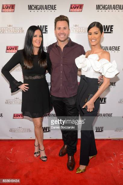 Patti Stanger Ryan Chiaverini and Jaslene Gonzalez attend WE tv's LOVE BLOWS Premiere Event at Flamingo Rum Club on August 16 2017 in Chicago Illinois