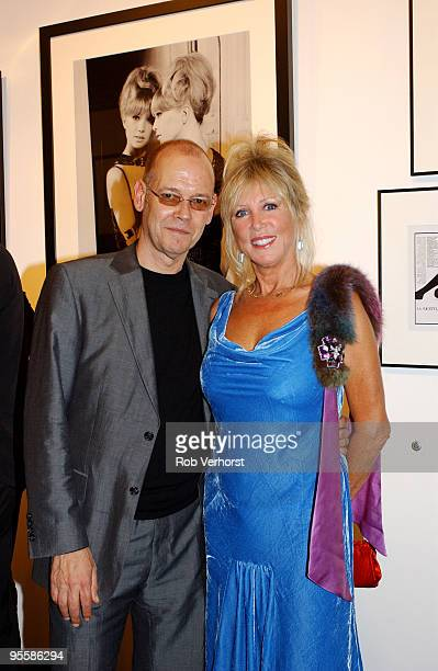 Pattie Boyd former wife of George Harrison and Eric Clapton poses with Peter de Raaf of VPS Gallery at an exhibition on September 8th 2005 in...