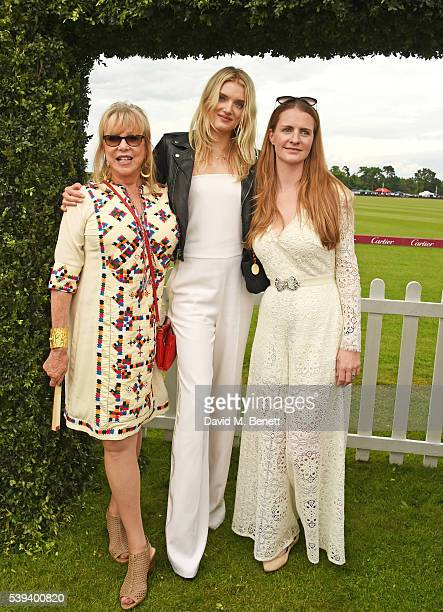 Pattie Boyd Lily Donaldson and Chloe Delevingne attend The Cartier Queen's Cup Final at Guards Polo Club on June 11 2016 in Egham England