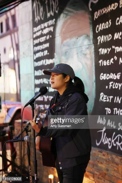 Pattie Lin performs at a candlelight vigil for Andrew Brown, Ma'khia Bryant and Daunte Wright at The Laugh Factory on April 23, 2021 in West...