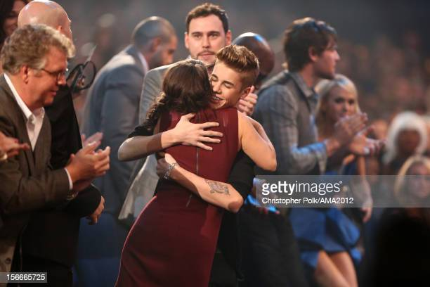 Pattie Mallette and singer Justin Bieber in the audience at the 40th American Music Awards held at Nokia Theatre LA Live on November 18 2012 in Los...