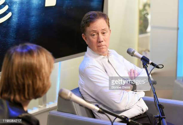 Pattie Sellers and Governor of Connecticut Ned Lamont speak during SiriusXM Business Radio's 'Making A Leader' Series with Governor Ned Lamont and...