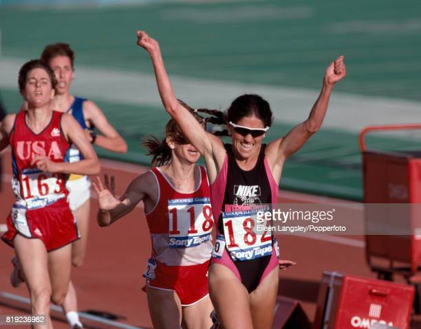 PattiSue Plumer of the USA celebrates after winning the women's 3000 metres competition during the Goodwill Games in Seattle Washington circa July...