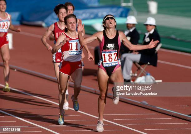 Patti Sue Plumer of the USA wins the women's 3000 metres event at the Goodwill Games in Seattle Washington circa July 1990