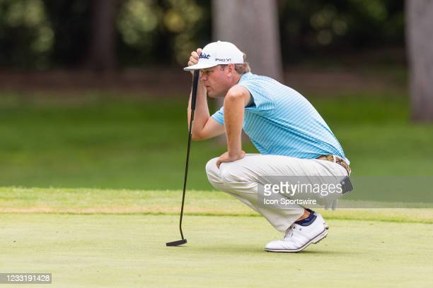 Patton Kizzire lines up his put on the 8th green during the final round of the Charles Schwab Challenge on May 30, 2021 at Colonial Country Club in...
