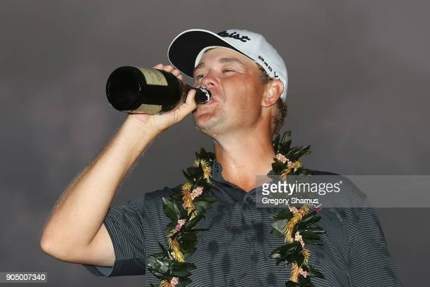 Patton Kizzire of the United States celebrates after winning the Sony Open In Hawaii on the sixth playoff hole against James Hahn at Waialae Country...