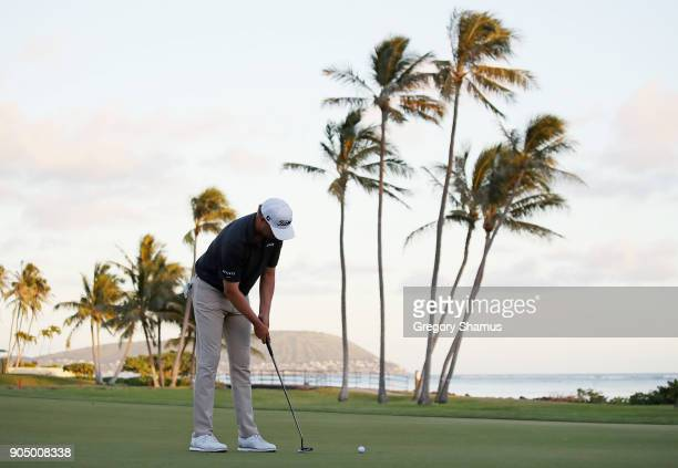 Patton Kizzire of the United States makes a par putt on the sixth playoff hole to defeat James Hahn and win the Sony Open In Hawaii at Waialae...