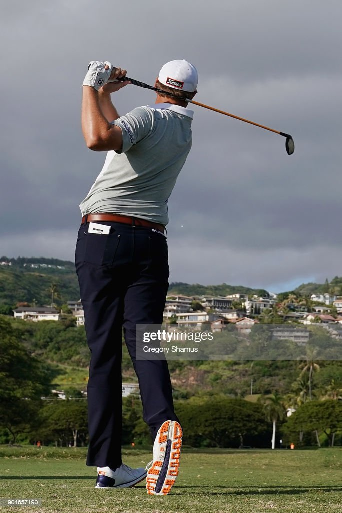 Patton Kizzire of the United States plays his shot from the 14th tee during round three of the Sony Open In Hawaii at Waialae Country Club on January 13, 2018 in Honolulu, Hawaii.