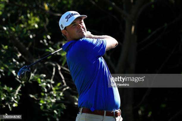 Patton Kizzire of the United States plays his shot from the 18th tee during the third round of the Mayakoba Golf Classic at El Camaleon Mayakoba Golf...