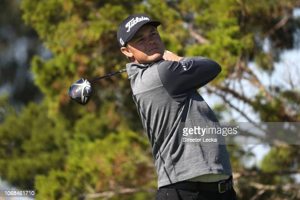 Patton Kizzire of the United States plays his shot from the seventh tee during the second round of the RSM Classic at the Sea Island Golf Club...