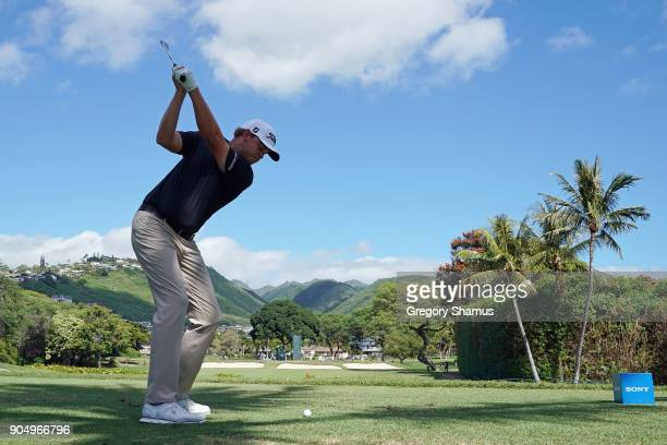 Patton Kizzire of the United States plays his shot from the seventh tee during the final round of the Sony Open In Hawaii at Waialae Country Club on...