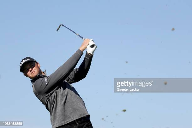 Patton Kizzire of the United States plays his shot from the sixth tee during the second round of the RSM Classic at the Sea Island Golf Club Seaside...