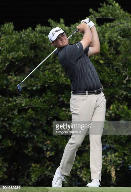 Patton Kizzire of the United States plays his shot from the sixth tee during the final round of the Sony Open In Hawaii at Waialae Country Club on...