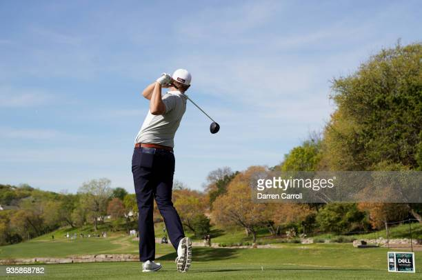 Patton Kizzire of the United States plays his shot from the third tee during the first round of the World Golf ChampionshipsDell Match Play at Austin...