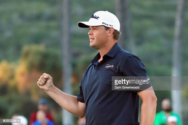 Patton Kizzire of the United States reacts after making a par putt on the sixth playoff hole to defeat James Hahn and win the Sony Open In Hawaii at...