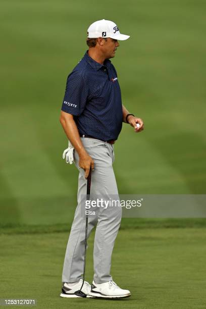 Patton Kizzire of the United States reacts on the 18th green during the final round of the Travelers Championship at TPC River Highlands on June 28...