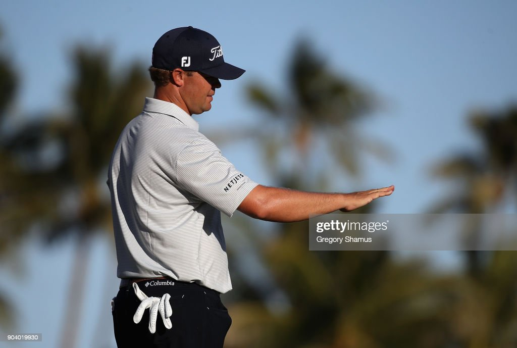 Patton Kizzire of the United States stands on the 17th green during round one of the Sony Open In Hawaii at Waialae Country Club on January 11, 2018 in Honolulu, Hawaii.