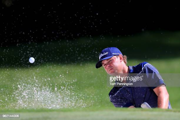 Patton Kizzire plays a shot from a bunker on the eighth hole during round one of the Fort Worth Invitational at Colonial Country Club on May 24 2018...