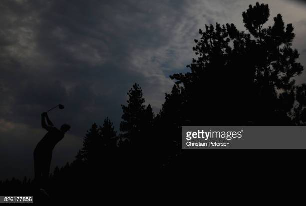 Patton Kizzire plays a tee shot on the sixth hole during the first round of the Barracuda Championship at Montreux Country Club on August 3 2017 in...