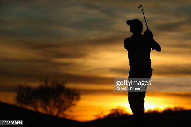 Patton Kizzire plays his second shot on the ninth hole during the second round of the Waste Management Open at TPC Scottsdale on January 31 2020 in...